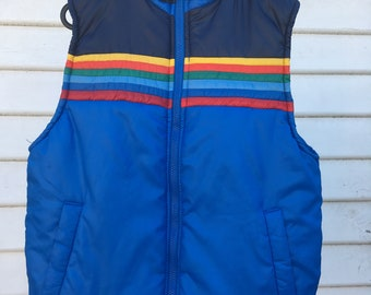 Vintage 80s/90s Aventura blue puffy vest with rainbow detail
