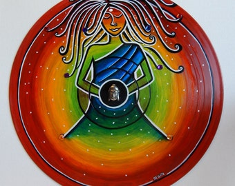 Peaceful Dj Handpainted Vinyl Record Art Mandala