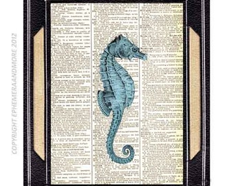 Dictionary art print SEAHORSE blue turquoise natural science history marine sea beach ocean wall decor on vintage book page 8x10, 5x7