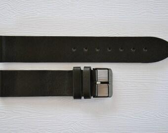 Black watch strap, Leather watch strap, 20mm watch strap, Watch band, 20mm Watch band, Leather watch band, Watch straps, Watch bands