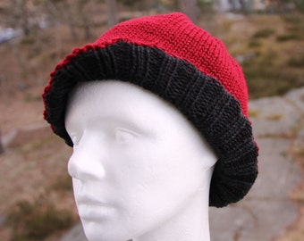 Two-sided handknit hat, handknit from 100% fine and silky merino wool, gift for her or him
