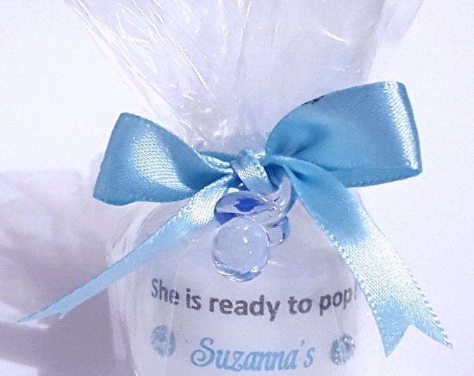 She's ready to pop personalised baby shower candle favours