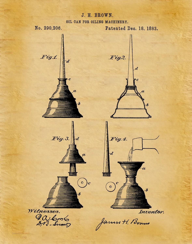 Patent 1883 Oil Can - Art Print - Mechanics Wall Art - Carpenter ...