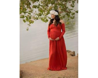 Maternity Dress-Long Sleeve Maternity Dress-Baby Shower Dress-Long Maternity Gown-Maxi Gown-Maxi Maternity Dress-Gold Dress-OFELIA Gown