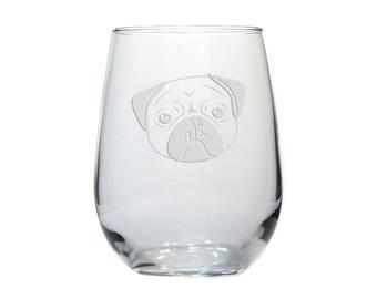 Pug Face Dog Wine Glass / Free Personalization / Etched Stemless Wine Glass / Dog Wine Glass / Personalized Gift / Personalized Glass
