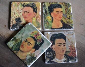 Coaster set-4 Frida Kahlo vintage Marble Tiles