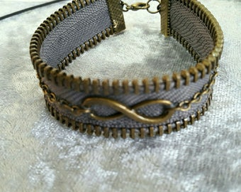 bronze bracelet gray closure zipper