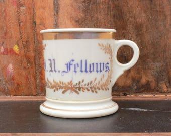 Antique Haviland Mug, Victorian Shaving Mug, Haviland Porcelain, Last Name Fellows in Blue with Gold Details, Fathers Day Shaving Accessory