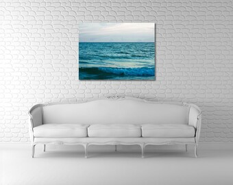 Canvas - Large Art - Minimalist Teal Ocean on 30x40 Gallery Wrapped Canvas - Voyage - Original Fine Art Photography by Tricia McKellar