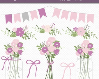 Mason Jar Flowers in Purple and Pink Digital Art Set Clipart Commercial Use Clip Art INSTANT DOWNLOAD Wedding Flowers Floral Clipart
