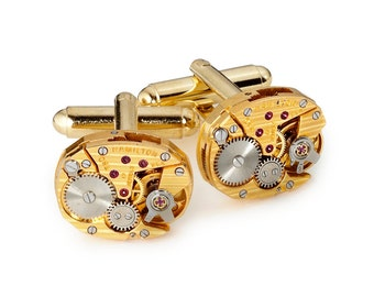Steampunk Cufflinks, Vintage Hamilton Watch Cuff Links for Wedding or Anniversary, Best Man & Grooms Gift, Mens Cufflinks, Gold Jewelry Gift