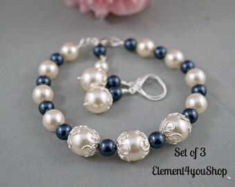 Set of 3 Bridesmaid jewelry Bridesmaid bracelet earrings set Cream navy blue bracelets Bridal party gift Wedding shower gift, Attendant gift