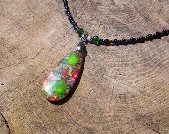 Tear Drop Style Composite Stone Pendant Necklace