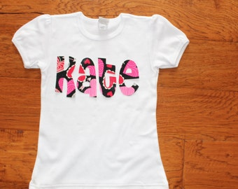 Girl's Personalized  Unique Valentine's Day Gift Idea Heart Shirt Name Applique kids name shirt fabric letters Love T-shirt