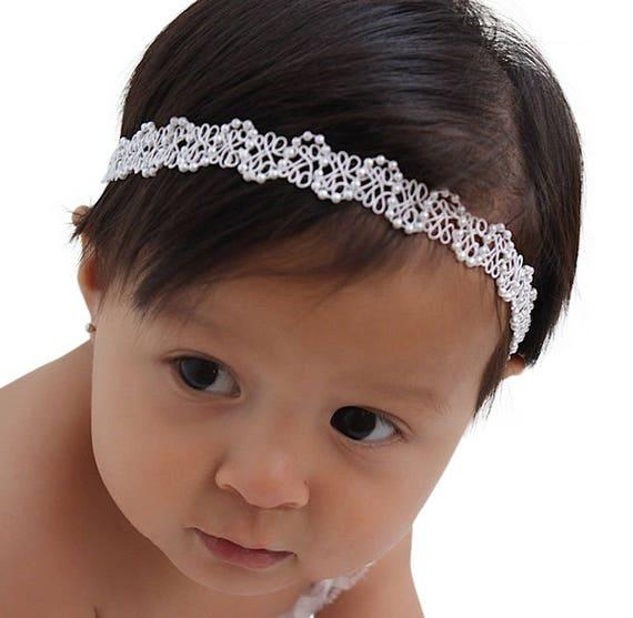 Baptism Headband, Christening Headband, Baby Headband, Newborn Headband, Baby Girl Headband, Infant Headband, White Baby Headband, Halo