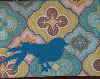 Zipper Bag, Turquoise Bird, Wool Applique, Turquoise Lining