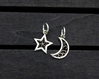 Sterling Silver Moon Charm,Silver Crescent Moon Pendant Charm, Sterling silver star charm, Silver star pendant