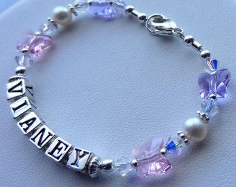 Personalized Sterling Silver and Swarovski Crystal Children Bracelet, Name Bracelet, Birthstone, Baptism, First Communion, Boys Boy