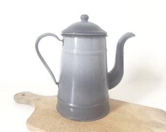 grey enamel coffee pot / vintage /.