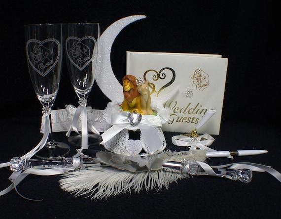 Lion King DISNEY Wedding Cake Topper LOT Glasses Knife Guest - Lion King Wedding Cake