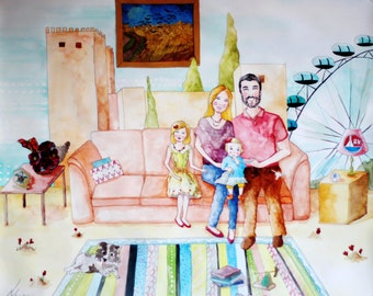 Family Portrait - Custom Family Portrait - Precious Moments - Bespoke Original Illustrated Mixed-Media Portrait