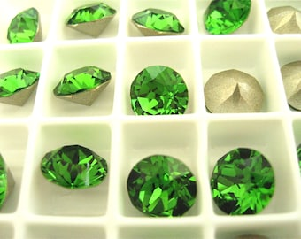 6 Fern Green Foiled Swarovski Crystal Chaton Stone 1088 39ss 8mm