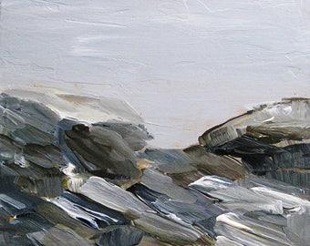 Abstract Painting On the Rocks Original Acrylic Painting Plein Air Art by Artist Kathleen Daughan Maine Massachusetts Rocks Pemaquid