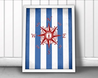 Nautical Compass Art Print with Striped Background, Nautical Art Print, Compass Art Print, Nautical Art Print, Nautical Art Compass Poster