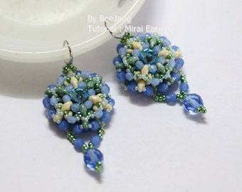 PDF Tutorial - Mirai Earrings - Pendant Beading Pattern Beadweaving Instruction Instant download