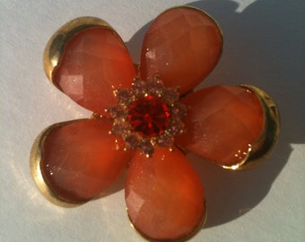 Peach Faceted Lucite Flower Brooch with Clear and Red Rhinestones /gold tone setting