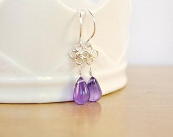 Purple Amethyst Earrings, Clover Link Earrings, Sterling Silver Earrings, Purple Gemstone Earrings, Purple Earrings, Amethyst Drops Earring