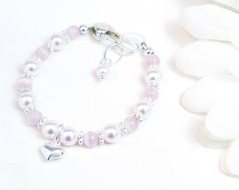 Baby Bracelet - Little Girl Bracelet - Baby Girl Bracelet - Newborn Bracelet - Pink Baby Bracelet - Infant Bracelet - Pink Cats Eye Bracelet