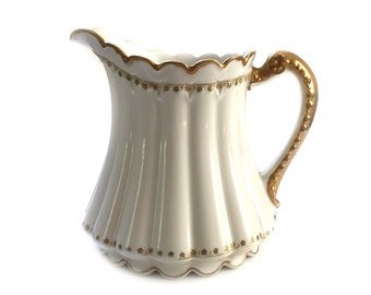 Theodore Haviland Limoges China Pitcher Antique Large 40 oz. White and Heavy Gold RARE PIECE