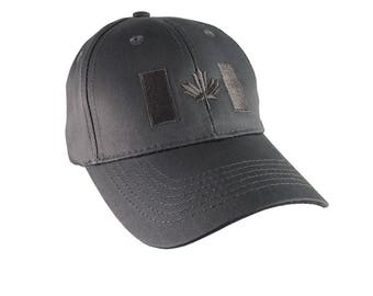 Canadian Flag Grey Embroidery Design on a Charcoal Grey Adjustable Structured Baseball Cap for Kids Age 6 to 14 Tone on Tone Fashion Look