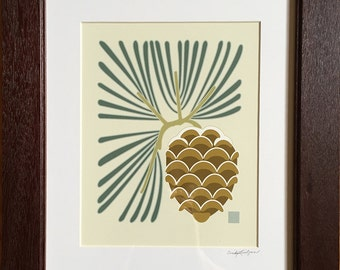 Scalloped Pine  Print, Arts and Crafts Style