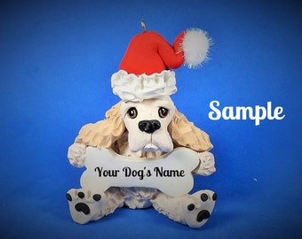 Buff Blonde Cocker Spaniel Santa Dog Christmas Holidays Bone Ornament Sally's Bits of Clay PERSONALIZED FREE with dog's name