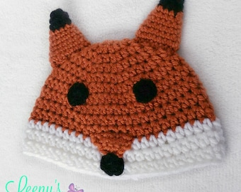 Crochet Fox Hat Beanie - Any size Baby to Adult