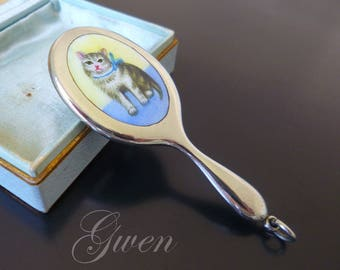 Antique Chatelaine Enamel Cat Silvered Victorian Charm Doll Mirror enameled Miniature German Jewel Pendant Germany Art Nouveau