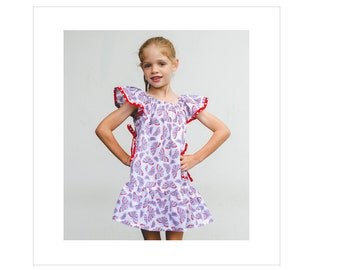 Butterfly Dress PDF sewing pattern, girl's flutter sleeve dress pattern in 2 versions, sizes 6-9 months - 10 years