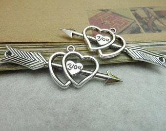 10 pcs 20x53mm Antique Silver Arrow Heart charm Pendant