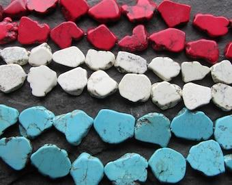 Freeform Flat Slab Large Focal Gemstone Beads Red White Turquoise Howlite Pendant Size