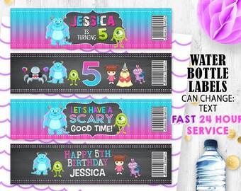 Monster water bottle labels wraps Chalkboard labels Monster Inc Birthday party labels Monster university
