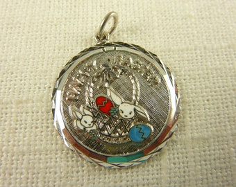 Vintage Sterling and Enamel Happy Easter Charm