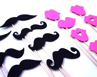 Mustaches and Baby Pink Lips on a Stick - Set of 16 - Birthdays, Weddings, Parties - Photo Booth Props