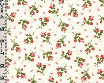 Fabric Marcus American Bouquet Pink Roses Rosebuds tossed on cream sweet floral