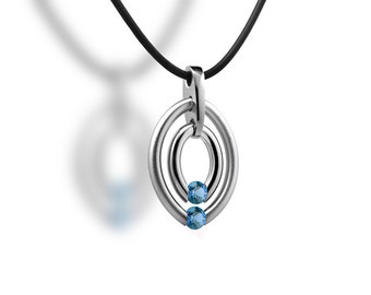 Double Birthstone Blue Topaz Tension Set Two Circle Pendant