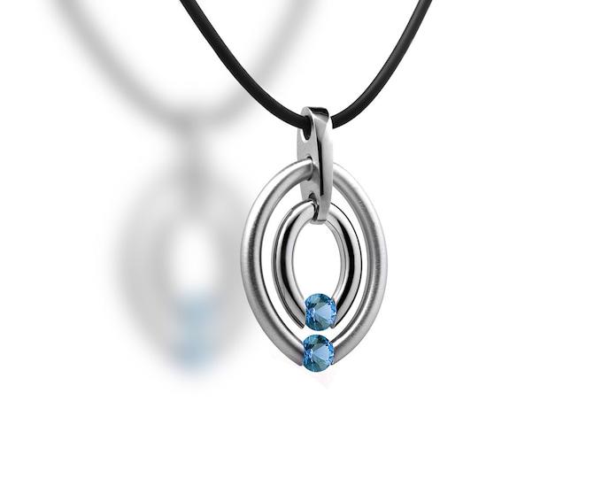 Double Birthstone Blue Topaz Tension Set Two Circle Pendant