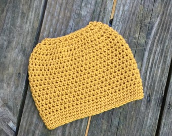 Ready To Ship Messy Bun Mustard Messy Bun Crochet Hat Beanie Women's Crochet Hat Winter Accessories Gifts For Her