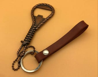 Handmade Brown Leather KeyChain with Copper Bottle Opener Gift for Her/His,Bottle Opener KeyChain