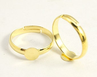 Gold Ring Blanks Brass Rings Adjustable Rings Gold Rings Blank Rings Ring Setting Ring Making Ring Base Wholesale Rings 100 pieces